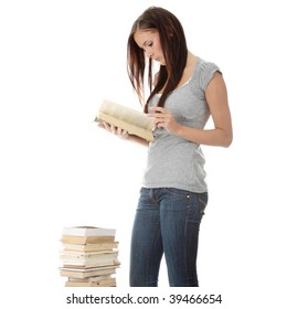 Young teen woman and books isolated