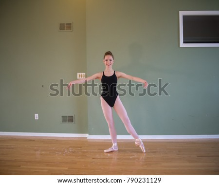 4fdf598d6 Young Teenage Ballet Dancer Wearing Pointe Stock Photo (Edit Now ...