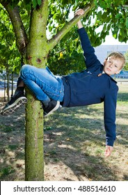 Young teenage boy hanging on tree happy childhood. In the park