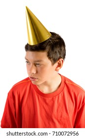 Young teenage boy isolated on white looking sad at a party