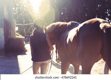 Young teenage girl equestrian leading her brown horse in rays of sunlight. View from backside. Multicolored vibrant outdoors horizontal summertime image with vintage filter.