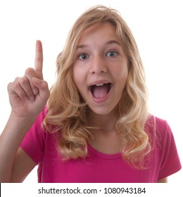 Young teenage girl is heaving a idea over white background