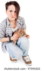 young teenage girl with the rabbit