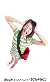 Young Teenage girl student is screaming out loud and pulling her hair in full length isolated on white background, from high angle view, model is a asian woman
