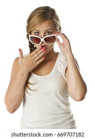 young teenage girl with sunglasses surprised on white background