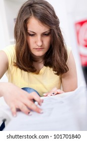 Young teenager girl resolve test