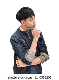 Young teenager man thinking on white background