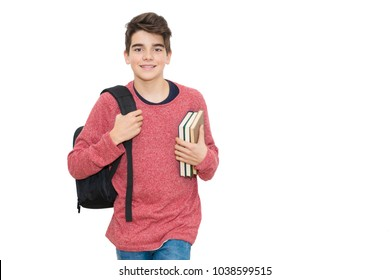 young teenager with school backpack and books