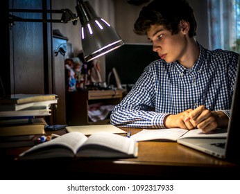young teenager schoolboy at the table doing homework in the dark room