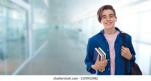 young teenager student with books