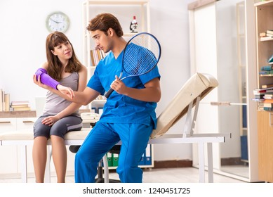 Young tennis player visiting doctor traumatologist