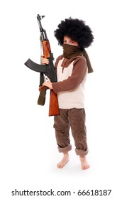 The young terrorist with assault rifle on a white background.