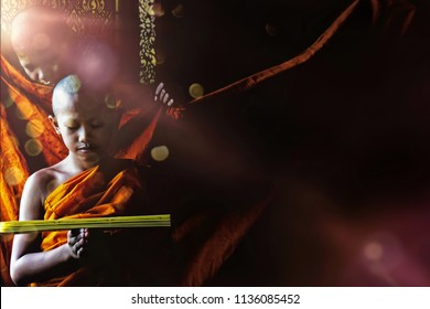 A young Thai Buddhist novice reading Buddhism scripture and another novice standing and look at behind with sun flare through window