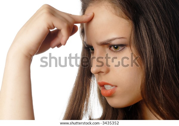 Young thinking woman making a decision with finger at her forehead