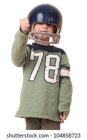 Young toddler with football helmet on white background