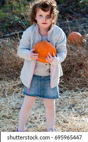 Young toddler girl outside holding a pumpkin with pumpkin fields in the background
