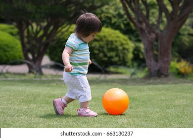 Young Toddler playing with an Orange Ball in a Park.