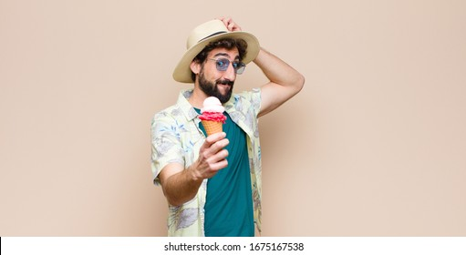 young tourist man having an ice cream
