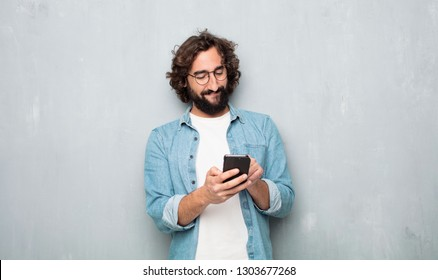 young tourist man with a mobile phone