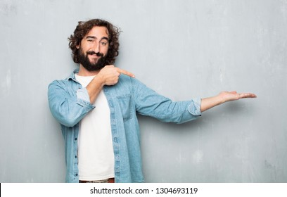 young tourist man. pointing or showing