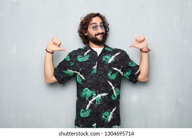 young tourist man proud pose
