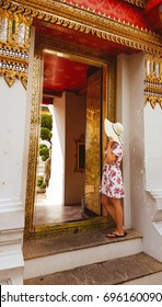 Young tourist woman in Wat Pho