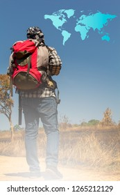Young traveler with his backpack traveling around the world.