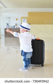 Young traveler in the lobby of a hotel