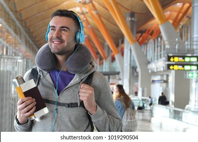 Young traveler ready for an adventure at the airport