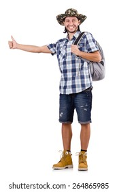 Young traveller with backpack hitchhiking isolated on white