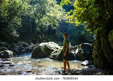 Young traveller is walking along a jungle stream in the amazon forest / Tarapoto/ north peru/ South America