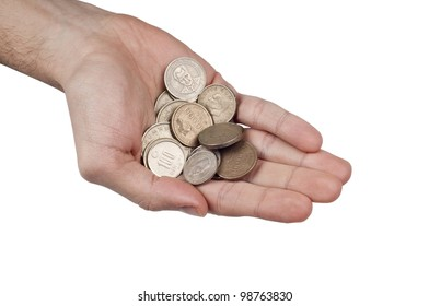Young Turkish Male have some turkish coins money in the palm