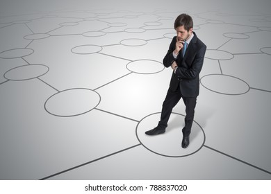 Young unsure man is making decision. Strategy and choice concept.