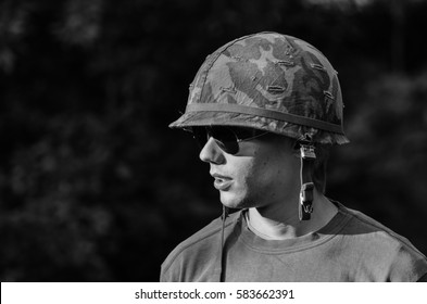 Young US soldier in Vietnam War era