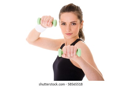 young and very attractive female exercise using green half kilogram weights, studio shoot isolated on white