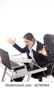 A young, very frustrated woman, in her office, isolated on white