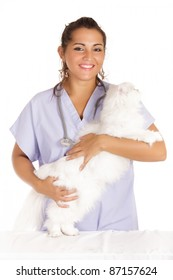 young veterinary woman hugging white angora cat