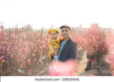 Young Vietnamese father with his son in peach flower garden in Hanoi, Vietnam