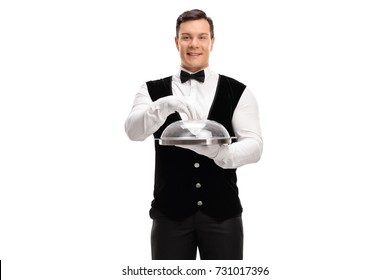 Young waiter holding an empty tray with a plastic lid isolated on white background
