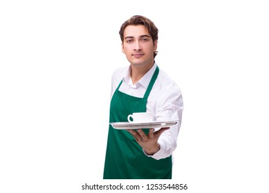 Young waiter isolated on white background