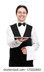 Young waiter portrait