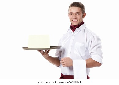 The young waiter with a tray on a white background