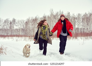 Young walking couple with a dog in the winter. man and woman with labrador