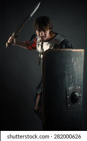 young warrior with a sword and shield in hand