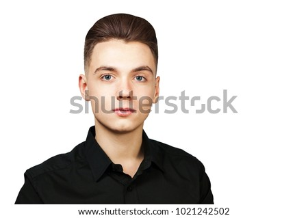 Young White Guy Pompadour Hairstyle Dressed Stock Photo Edit Now