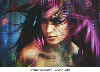 young wild woman beauty portrait double exposure