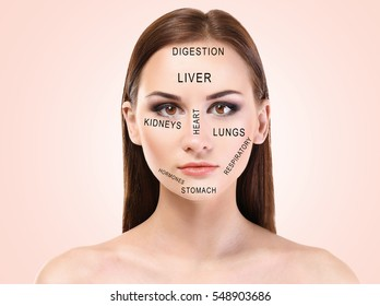Young woman with acne face map on color background. Skin care concept