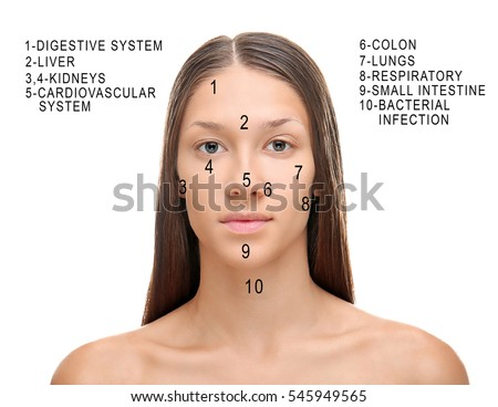 Young Woman Acne Face Map On Stock Photo Edit Now - Face map for acne