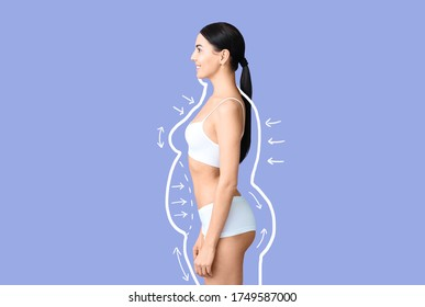 Young woman after weight loss on color background - Shutterstock ID 1749587000