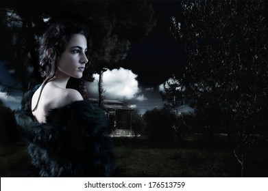 Young woman alone in the woods